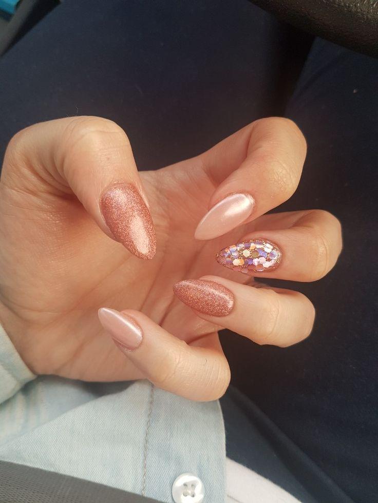 #rosegold #pearl #pigment #nails #glitter #chrome