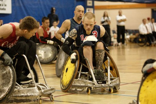 Five Winnipeggers -- Randy Dueck, Gerry Terwin, Duncan Campbell, Chris Sargent and Paul Lejeune -- originated the game of murderball, a.k.a. wheelchair rugby, in 1975.