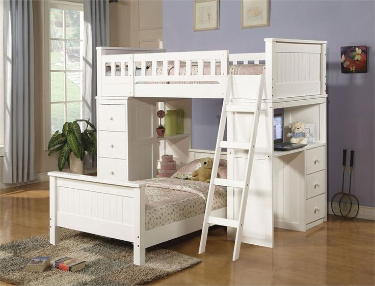 Morgan Hill White Workstation Twin Loft Bed W Desk