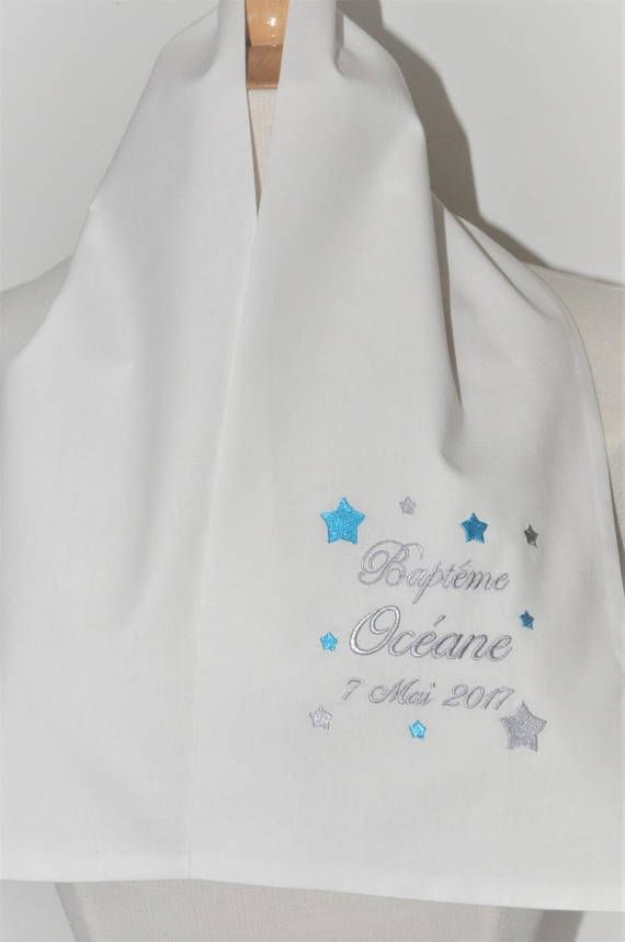 1f1b5bf2b28a Baptism baby scarf stars custom embroidered boy or girl   écharpe ...