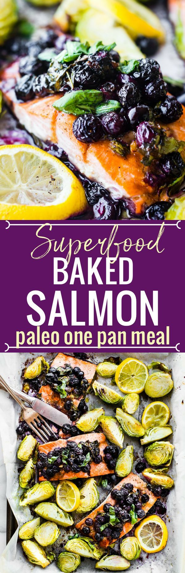 One pan Paleo SUPERFOOD Baked Salmon! This baked salmon recipe is ready in 20 minutes and packed full of nutrients. A nourishing, whole 30 friendly, flavorful meal! Salmon baked with a zippy basil blueberry balsamic topping and crispy Brüssel sprouts!   G