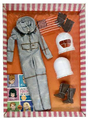 intage Barbie Miss Astronaut    Vintage Barbie Miss Astronaut #1641 (1965)   Silver Space Suit  White Helmet  Brown Plastic Gloves  Brown Boots with Zipper  American Flag