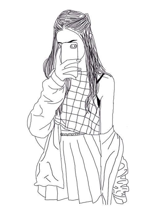Line Drawing Of Girl Tumblr : Weheartit outlines google da ara pinterest