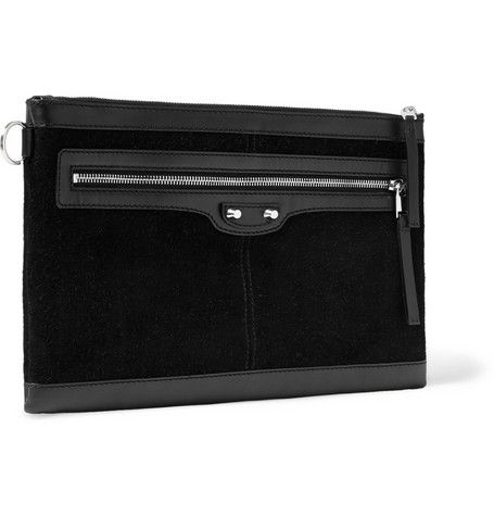 Balenciaga Suede and Leather Pouch  | MR PORTER