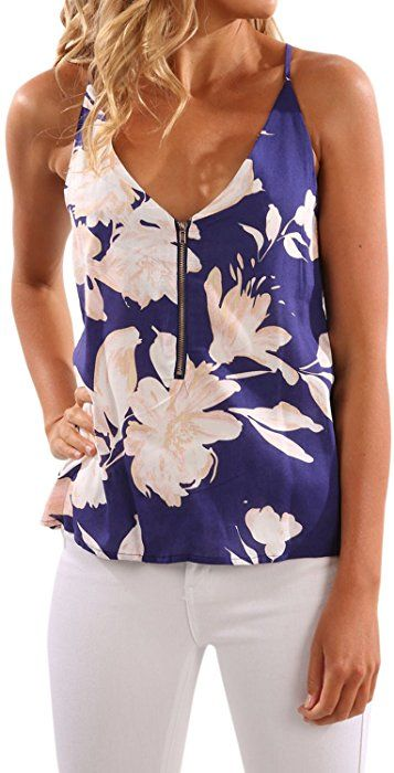 0d30d2444ef060 WLLW Women Spaghetti Strap Front Zipper Floral Print Shirt Tops Tanks  Camis, Blue-SM. at Amazon Women's Clothing store: