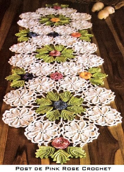 Table runner, with Irish Crochet Lace techniques, such a talent~❥