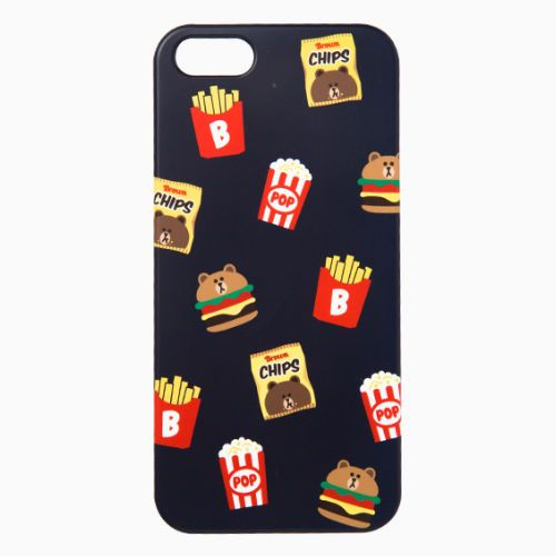 Line Friends Navy Brown iPhone SE/5/5s PC Apple Hard Case Skin Cover Patterned #NaverLineFriends