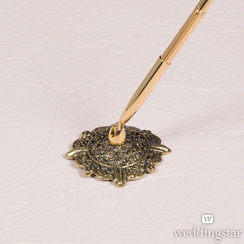 Antique Filigree Base Gold or Silver Pen Set #goldpenset