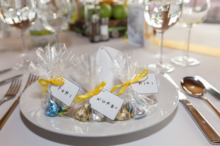 Friends themed wedding in Budapest - 2 in 1 - Place tag + Thank you gift (using Friends font) - Hershey kisses