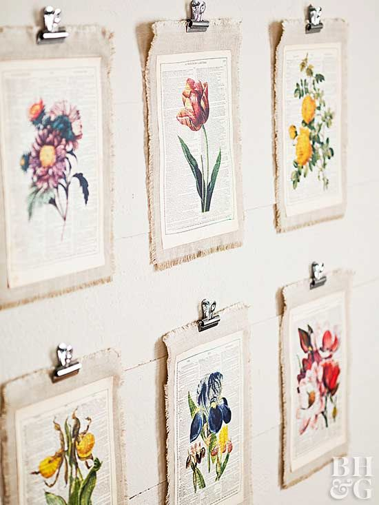 Bring kitchen walls into bloom with homemade floral art. Find free botanical images online, and print them on old book pages before stitching to a piece of linen mat. Fray the edges by pulling out threads down to the stitched line, then hang using bulldog clips.