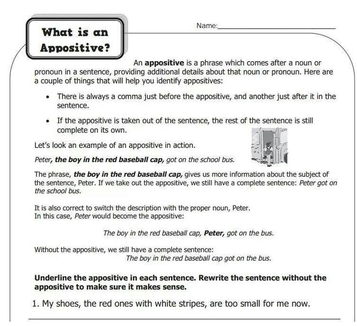 appositive phrases An appositive is a noun, noun phrase, or series of nouns placed next to another word or phrase to identify or rename it learn more.