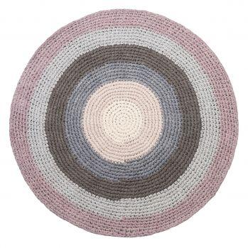 Geflochtener Baumwoll-Teppich altrosa/grau/puder rund Ø 120cm