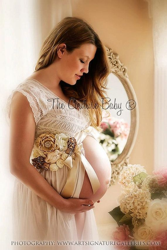 VINTAGE CREAM Maternity Pregnancy Photo Prop Couture Baby Sash for Belly Mom to Be Boy or Girl. $54.99, via Etsy.