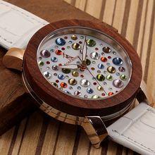 2017 Luxury Brand BOBO BIRD Watch Women Wooden Watches Genuine White Leather Strap Wristwatch relogio feminino C-J04(China (Mainland))
