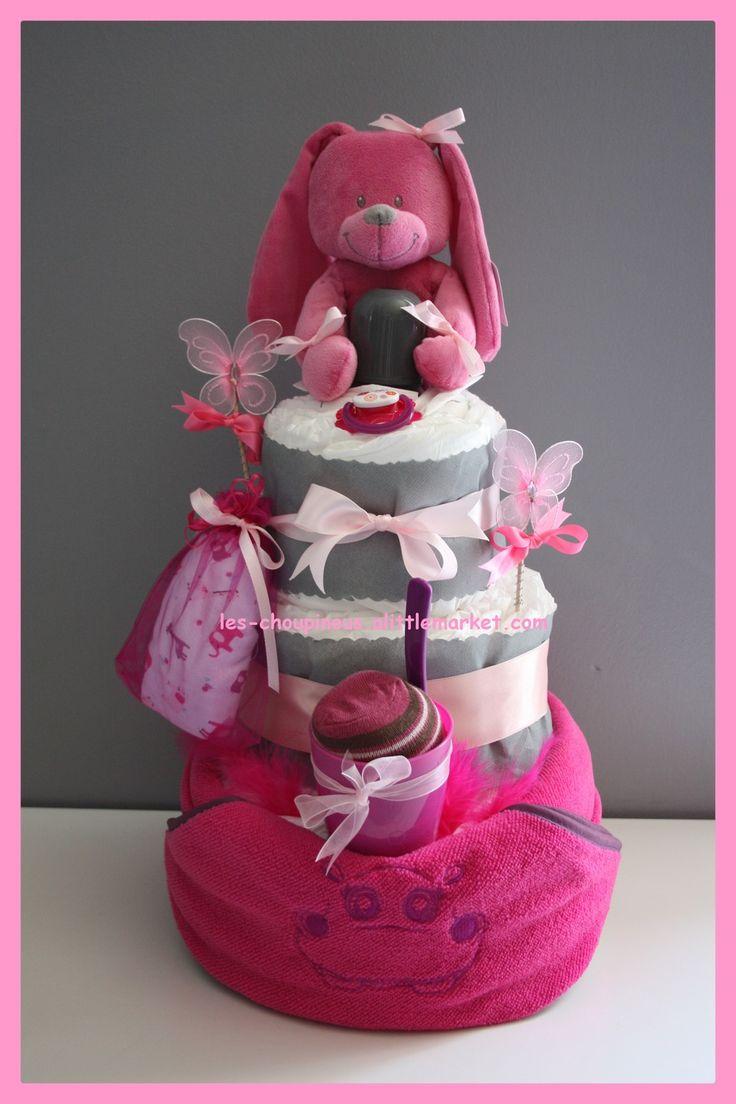 Cadeau original naissance baptême gâteau de couches fille : Décoration pour enfants par les-choupinous