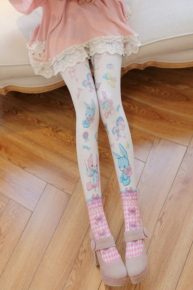 Japanese Harajuku Cartoon Printing Stockings Tights SD01404 - SYNDROME - Cute Kawaii Harajuku Street Fashion Store