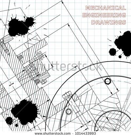 Backgrounds of engineering subjects. Technical illustration. Mechanical engineering. Draft. Black Ink. Blots  #bubushonok #art #bubushonokart #design #vector #shutterstock  #technical #engineering #drawing #blueprint   #technology #mechanism #draw #industry #construction #cad
