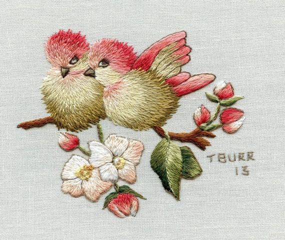 Digital Pattern Finches & Apple Blossoms by TRISHBURREMBROIDERY