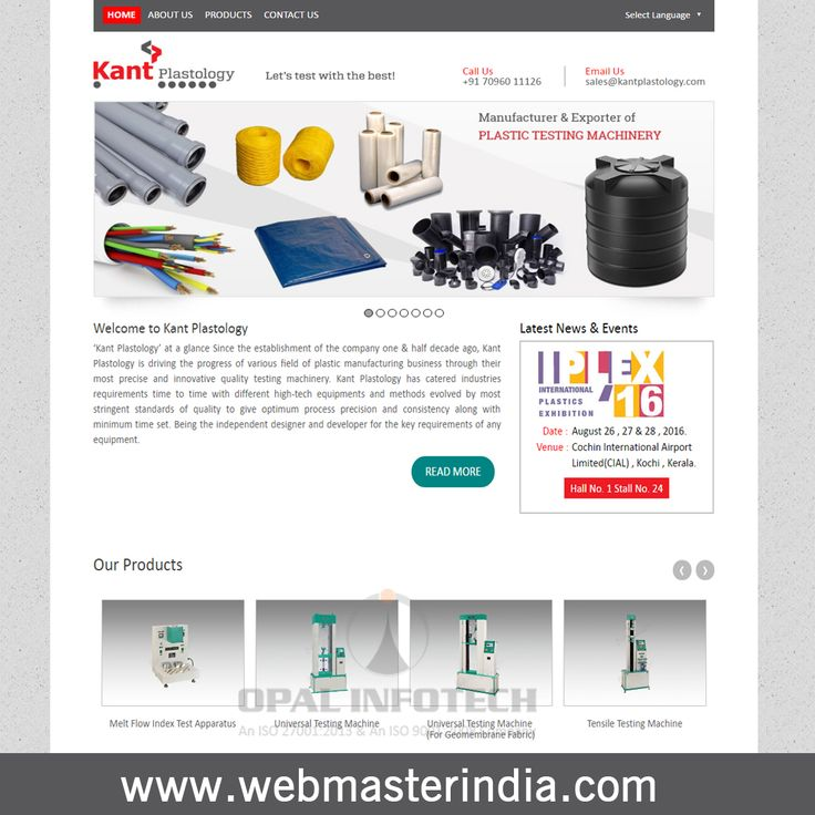 Opal Infotech launched a responsive Wordpress website www.kantplastology.com for Kant Plastology. Kant Plastology is the world's best leader in manufacturing quality Plastic Testing Machineries such as melt flow index test apparatus, universal testing machine, tensile testing machine, hydrostatic pressure testing machine, twin roll mill, compression moulding press izod / charpy impact tester muffle furnace and many more. To Know more about Wordpress Web Design services, visit at…
