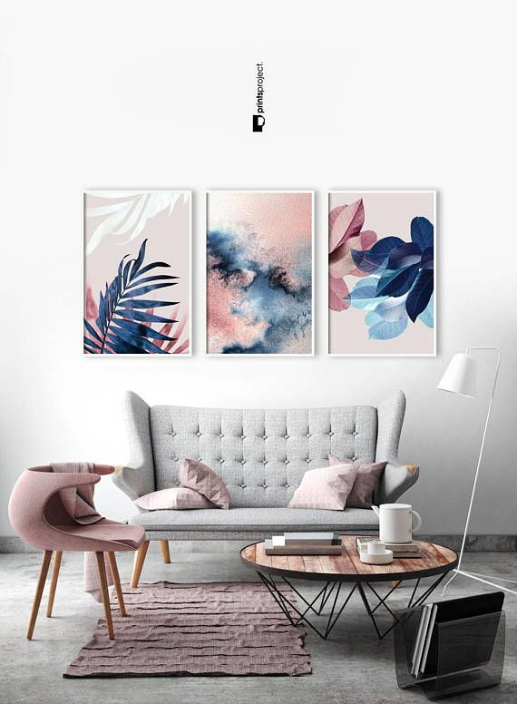 Set Of 3 Wall Art Botanical Prints Navy Blue Leaf Blush Blue And Pink Living Room Pink Living Room Blue Living Room #navy #blue #wall #decor #for #living #room