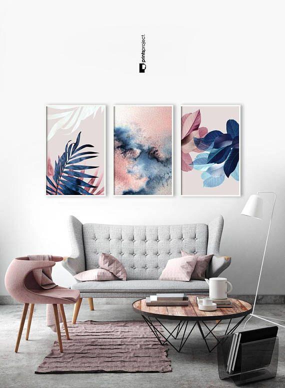 Set Of 3 Wall Art Botanical Prints Navy Blue Leaf Blush Home Decor Inspiration Home Office Decor Blue And Pink Living Room Blue Living Room Blush Living Room