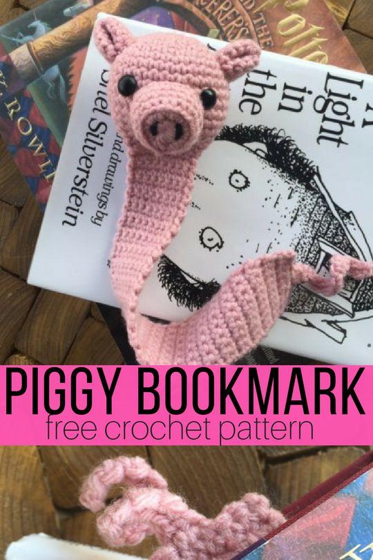 Amigurumi Pig Bookmark Crochet Pattern http://hearthookhome.com/amigurumi-pig-bookmark-crochet-pattern/?utm_campaign=coschedule&utm_source=pinterest&utm_medium=Ashlea%20K%20-%20Heart%2C%20Hook%2C%20Home&utm_content=Amigurumi%20Pig%20Bookmark%20Crochet%20Pattern