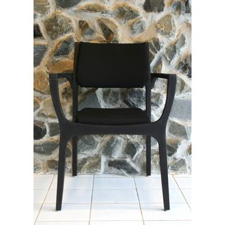 Sunqueen Espresso Brown Cobra Wood Stackable Patio Arm Chair
