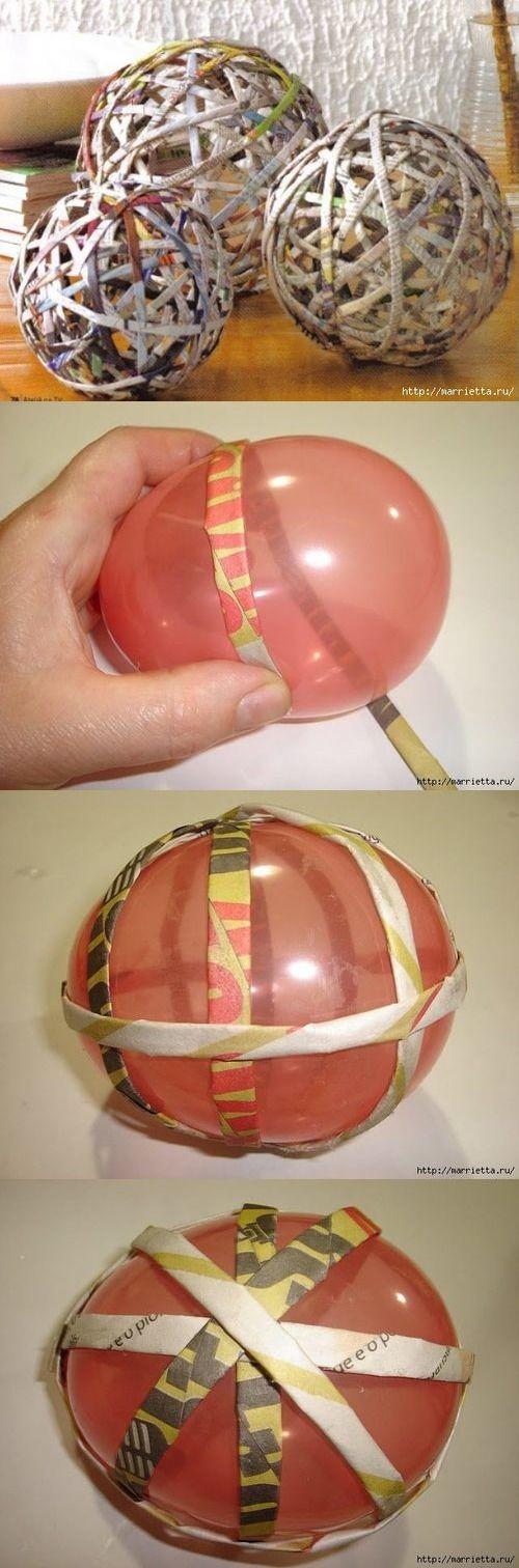 Декоративные шары из газетных трубочек