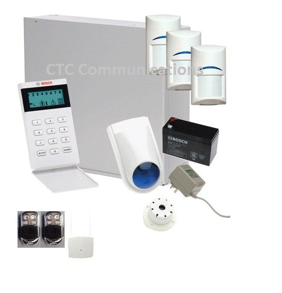 Bosch Solution 880 Ultima with 3 Wireless PIR Tritech (Pet Friendly) + Icon Codepad, Stainless Steel Remotes