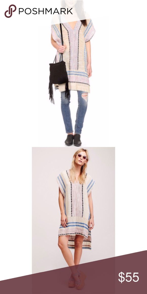Free people festival poncho dress cover up sz M Adorable poncho/dress/swimsuit cover up! Can be worn in a variety of ways. It is brand new with tags, size medium Free People Dresses High Low