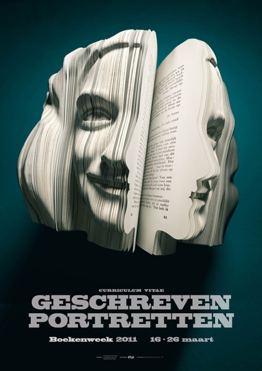 Book head: Face, Books, Book Art, Written Portraits, Bookart, Book Sculpture, Paper Art, Anne Frank, Design