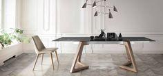 Mesa extensible de madera y cristal - Villalba Interiorismo