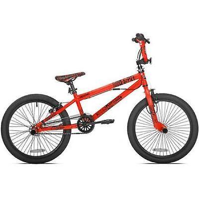 Boys Bmx Bike 20 Inch Neon Orange Mongoose Single Speed Kid Freestyle Handle Bar