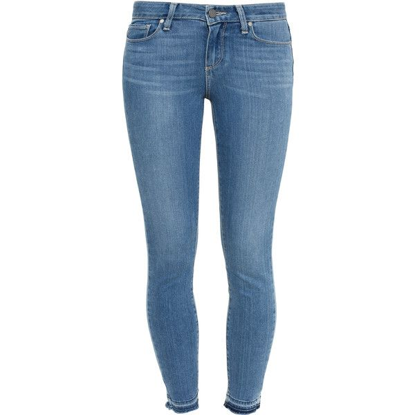 Paige Denim Skinny Un-Done Hem Jeans ($300) ❤ liked on Polyvore featuring jeans, faded jeans, blue skinny jeans, light wash jeans, super skinny jeans and frayed jeans