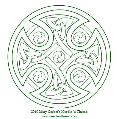 Free Hand Embroidery Pattern - Celtic Cross (and tons of other hand embroidery free patterns and techniques!)