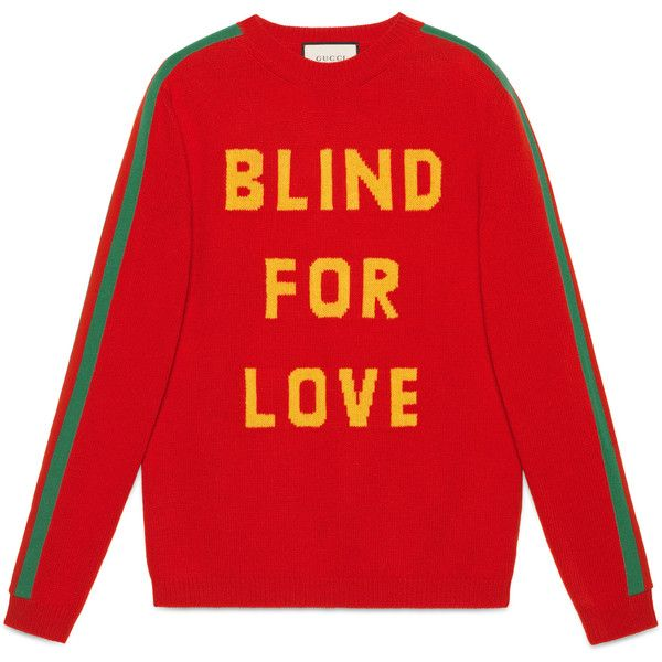 "Gucci """"Blind For Love"""" And Bee Wool Sweater (€980) ❤ liked on Polyvore featuring men's fashion, men's clothing, men's sweaters, men, new knitwear, ready-to-wear, mens wool sweaters, gucci mens sweater, mens woolen sweaters and mens short sleeve sweater"