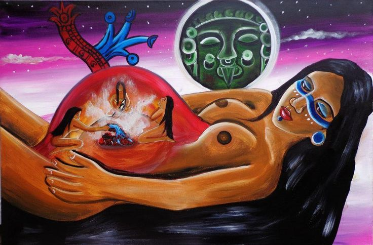 "Art by Tlacatecolotl Rojo de Arte Tolteca; ""Temazcalli, a healing ritual where we return to the womb of the mother earth, honoring our evolutionary history, more description https://www.facebook.com/photo.php?fbid=10151222419331365&set=a.10151243989131365.463274.548576364&type=3&theater"