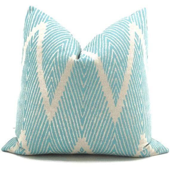 Aqua and Gray Ikat Chevron Decorative Pillow Cover, 18x18, 20x20, 22x22 or lumbar pillow Throw Pillow, Accent Pillow, Toss Pillow