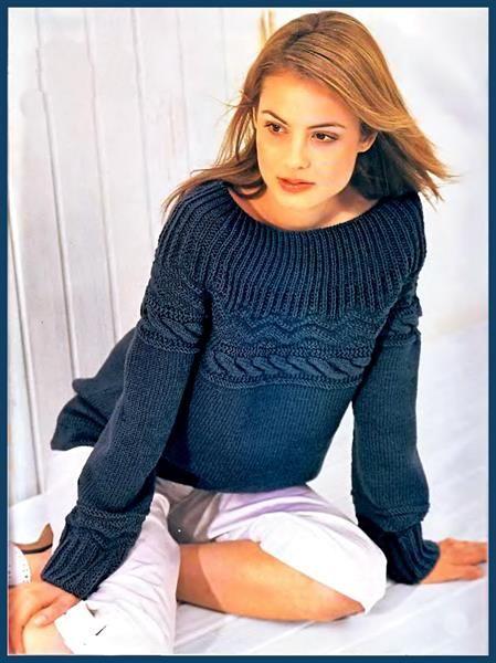 Вязаные свитера синие