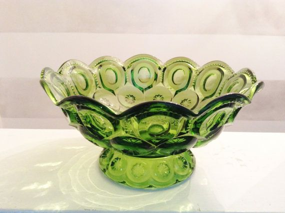 1960s Vintage Large Glass Bowl Green Scaloped by GreenVintageHeart, $35.00