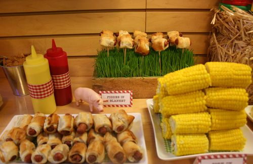 "BBQ - ""Farm"" theme.  cute pigs in a blanket - on-a-stick!!"