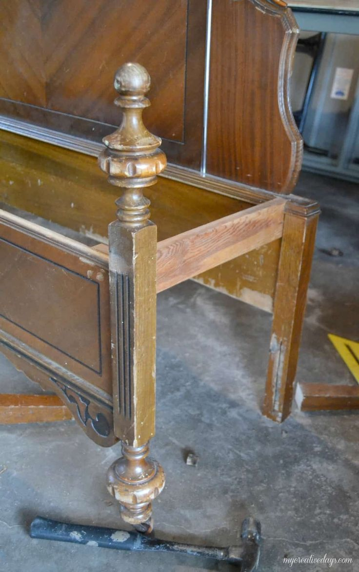 Repurposed Bed To Bench Tutorial Old bed frames, How to