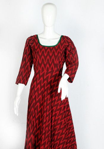 Red Ikat Anarkali Dress with Green Border