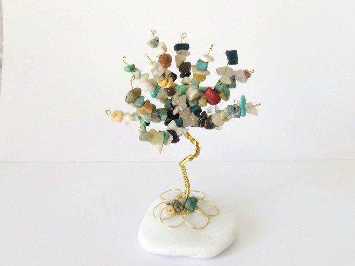 Multi color gemstone tree, Rainbow wire tree, healing crystals, Tree of Life, Tree Sculpture, Gemstone Sculpture, Wire Wrapped Tree, Zen art by AbssOluto on Etsy