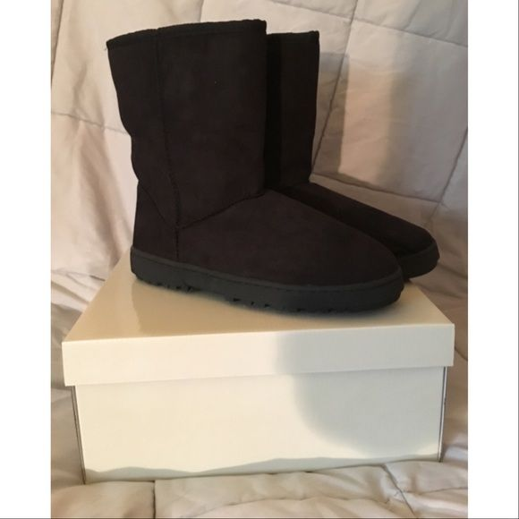 VEGAN SUEDE SHEARLING UGG-STYLE WINTER BOOTS New in box, never worn. Faux shearling and suede black winter Ugg - style boots. Fuzzy and warm inside! Size 10 (the M means medium width). No flaws/rips/stains. Perfect condition. You can fold down the tops to show off the fuzzy faux shearling. These make an awesome Christmas gift! Black. All man made vegan materials. No trades no PayPal. Please ask questions and view photos before purchase. Thank you!! Olive Street Shoes Winter & Rain Boots