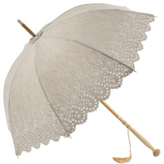 Amelie, UVP Beige Embroidery Anglaise Parasol by Pierre Vaux traditional outdoor umbrellas