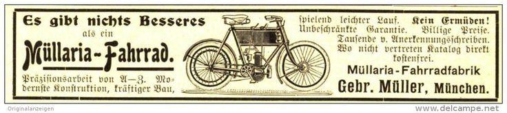 Original-Werbung/ Anzeige 1905 - MÜLLARIA FAHRRAD / GEBRÜDER MÜLLER MÜNCHEN - ca. 110 x 20 mm