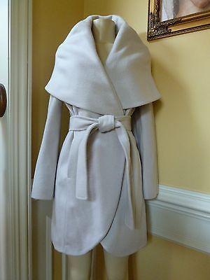 T Tahari Woman S Marla Wool Belted Wrap Coat Size S