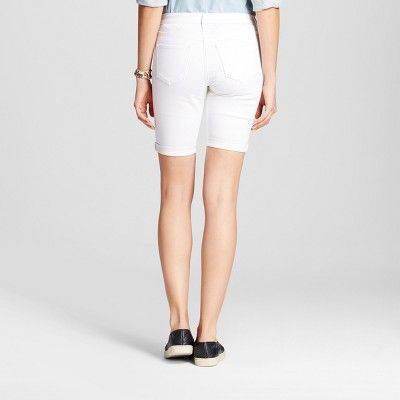 Women's Mid Rise Bermuda Shorts - Mossimo - Mossimo White Stain Resist 12