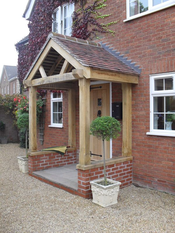 Oak porch with low wall